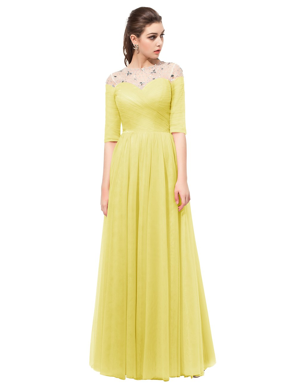 Dresstell レディーズ ロング丈 お呼ばれ 結婚式ドレス フォーマルドレス ビジュー付き カラーチュチュ 袖付き 花嫁ワンピース 二次会ドレス 編み上げ ダンスドレス B01NBR71AP JP5|イエロー イエロー JP5