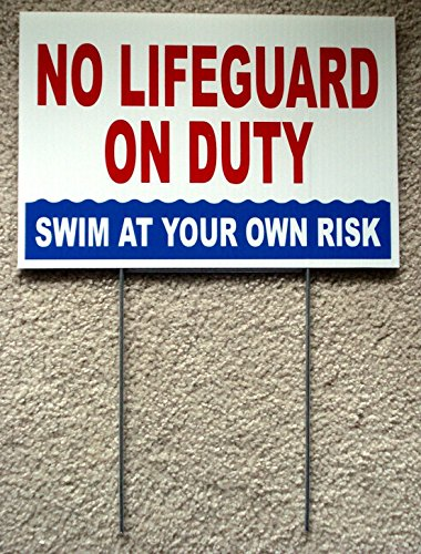 1 Pc Ideal Popular No Lifeguard Duty Sign Swim Board Warning Message Outdoor Declare Size 8'' x 12'' with Stake by GVGs Shop