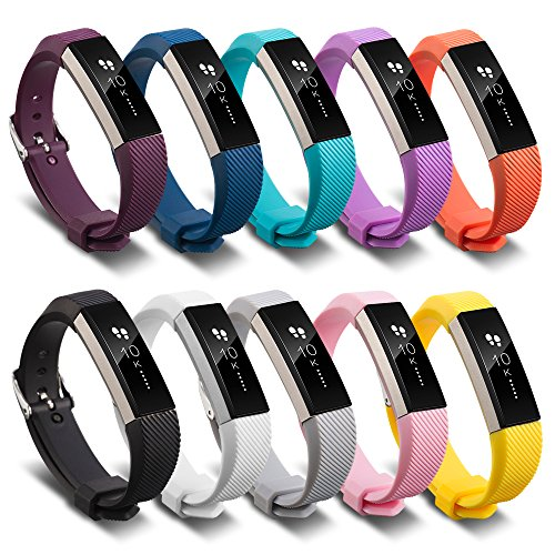 FUNKID Band for Fitbit Alta/Fitbit Alta HR Watch Bands Replacement Colourful Wristbands (10in1 Set) by FUNKID