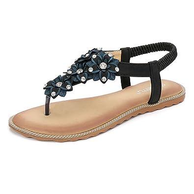 Minetom Damen Sommer Böhmische Flache Schuhe Süße Blumen Strass T-Strap Großformat Sandalen Flats Thong Elegant Mode Strand Hausschuhe Schwarz EU 38 t3uylpsV