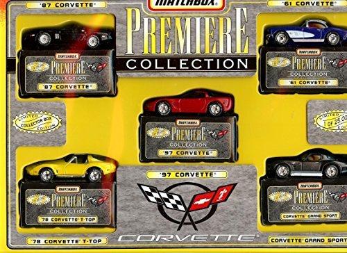 1987 Matchbox (MATCHBOX PREMIERE COLLECTION CORVETTE 5 PACK DIE-CAST COLLECTIBLE, 1987 CORVETTE, 1978 YELLOW CORVETTE T-TOP, 1997 RED CORVETTE, 1961 WHITE AND BLUE CORVETTE AND BLACK CORVETTE GRAND SPORT)