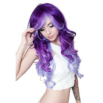 Rockstar tres tono Ombre Rizado morado posesión peluca multicolor