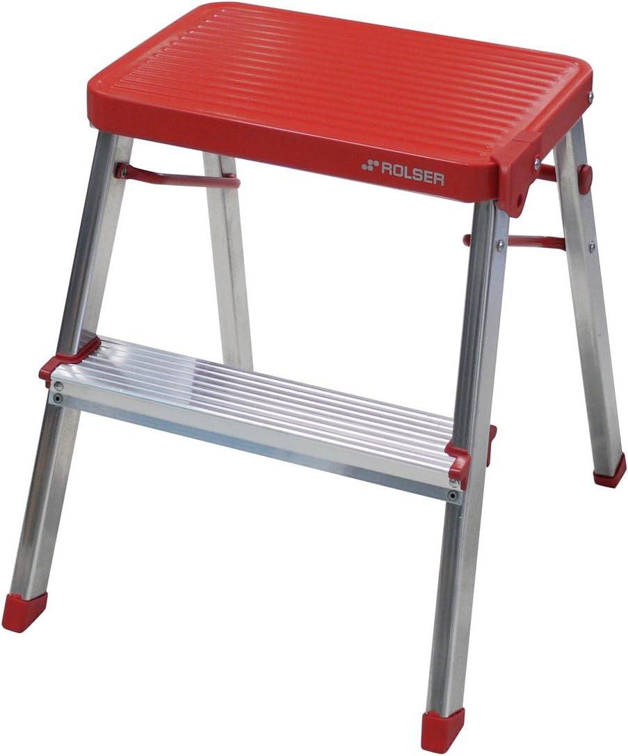 Rolser Taburete doméstico Aluminio M/2, Rojo, 14.5x43.5x68 cm: Amazon.es: Bricolaje y herramientas
