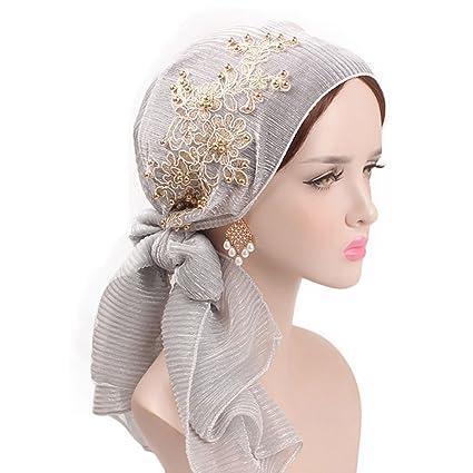 Lergo Mujeres Musulmana Floral Bufanda Sombrero Elástico Turban Larga Cola Headwear Cáncer Chemo Cap, Gris