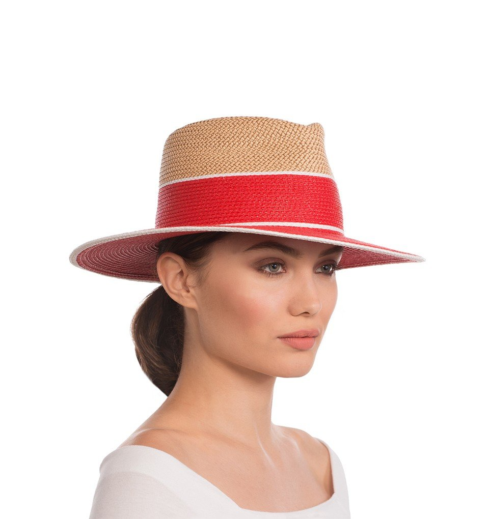Eric Javits Luxury Fashion Designer Women's Headwear Hat - Georgia - Red Mix
