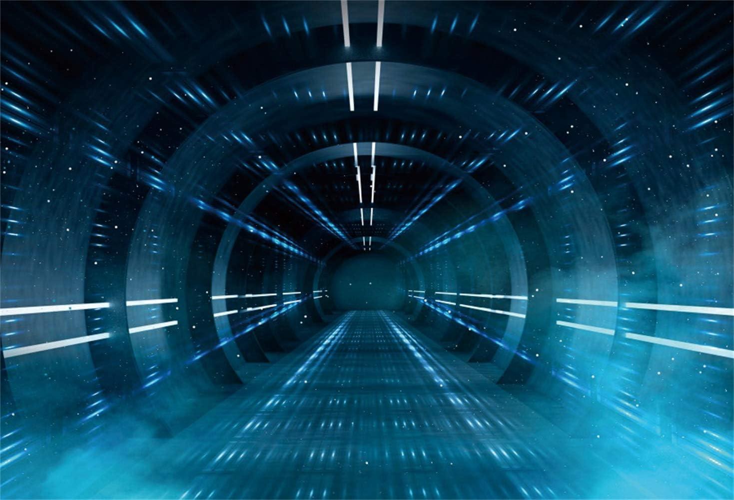 Time Tunnel Backdrop Metallic Hallway Imagination Space Backdrop 9x7ft Vinyl Photography Backgroud Bright Light Spaceship Interior Backgroud Boys Birthday Photo Backdrop Children Party
