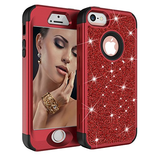 iPhone 5 Case, iPhone 5S Case, iPhone SE Case, GreenElec Three Layers Heavy Duty Resistant Luxury Glitter Sparkle Bling Shockproof Fashion Hard Case for Apple iPhone 5/5s/SE (Red Black)