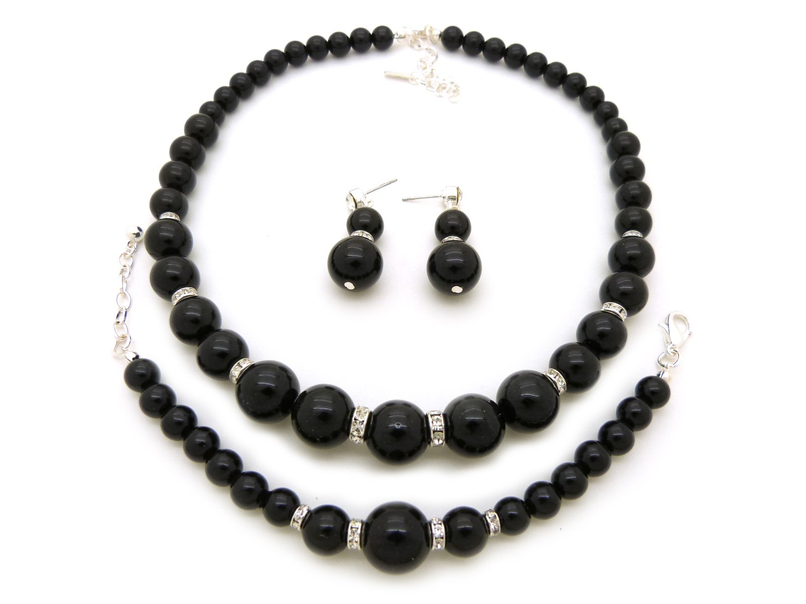 Rhinestone Trimmed Simulated Pearl Necklace, Bracelet, Pierced Earring 3 Set (Black)