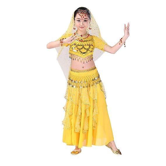 YWLINK Danza del Vientre, NiñAs India Danza del Vientre Danza Egipcia Traje De Rendimiento Conjunto De 2 Piezas Traje De Baile Vestido De Fiesta Bien ...