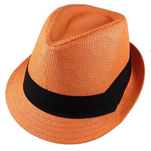 (Gelante Summer Fedora Panama Straw Hats with Black Band M215-Orange-S/M)