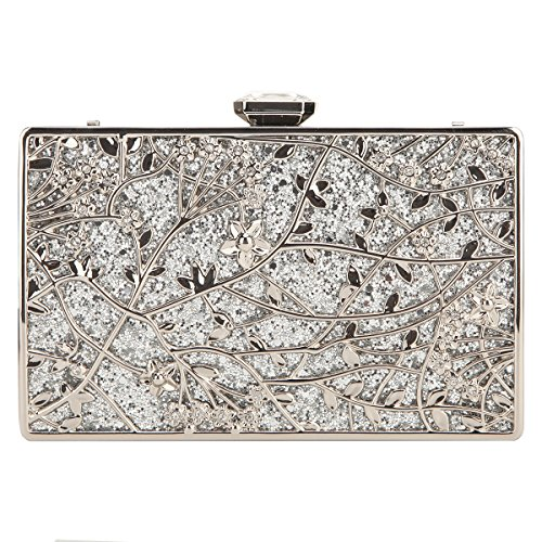 Fawziya Floral Evening Bags And Clutches Envelope Clutch Bags For Women-Silver