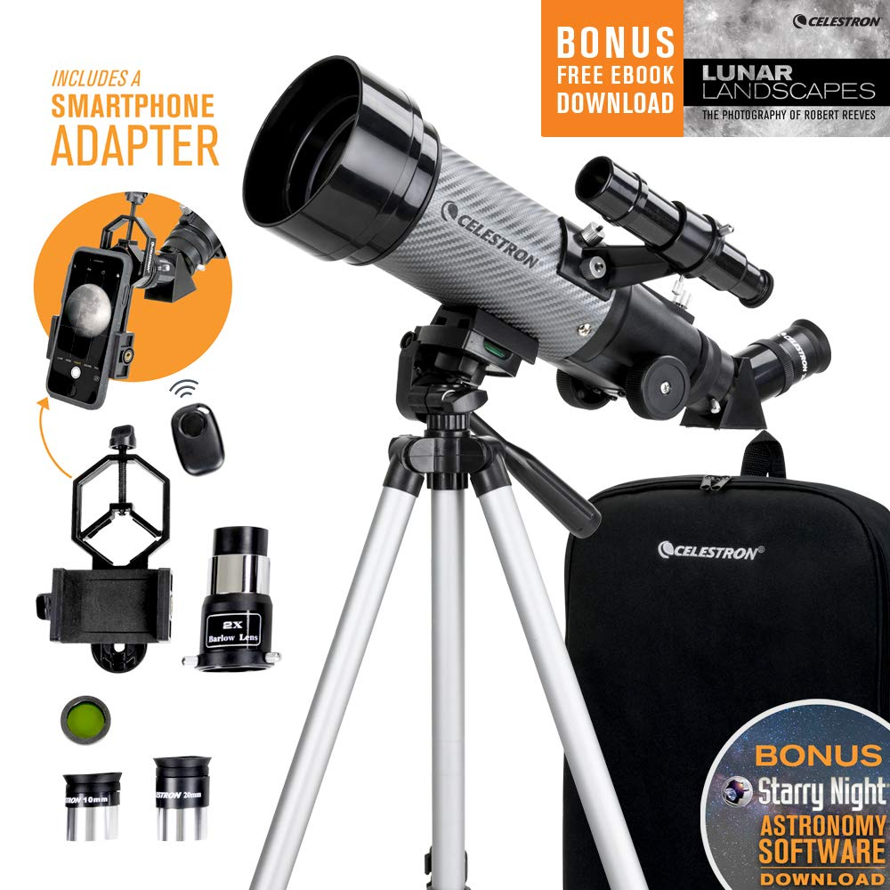 Celestron - 70mm Travel Scope DX - Portable Refractor Telescope - Fully-Coated Glass Optics - Ideal Telescope for Beginners - Bonus Astronomy Software Package - Digiscoping Smartphone Adapter by Celestron