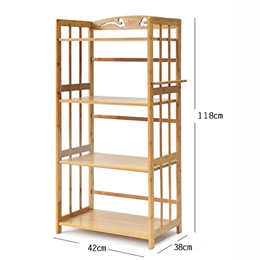 Amazon.com: 4-Tier Kitchen Microwave Oven Rack Bamboo Wood Floor Display Storage Holder Shelf Stand Organizer (Size : 55cmx38cmx118cm): Kitchen & Dining
