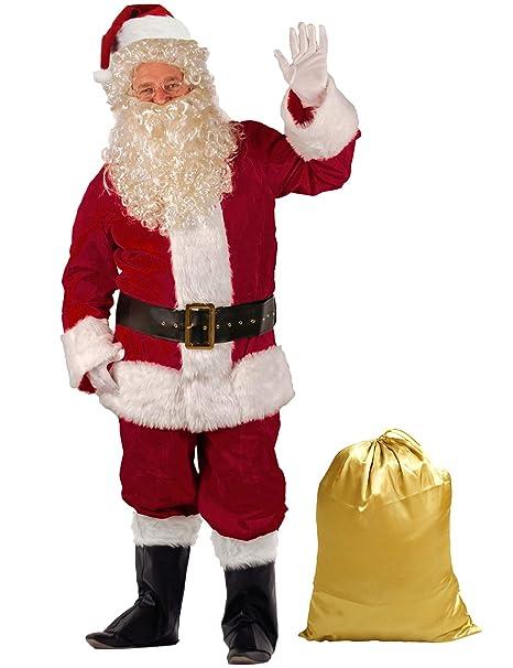 Amazon.com: Takuvan Traje de Papá Noel de lujo para hombre ...