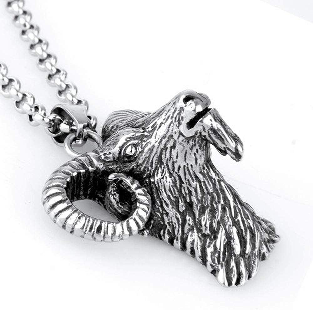 Wyanger Stainless Steel Necklace Mens Jewelry Vintage Titanium Steel Sheep Head Pendant