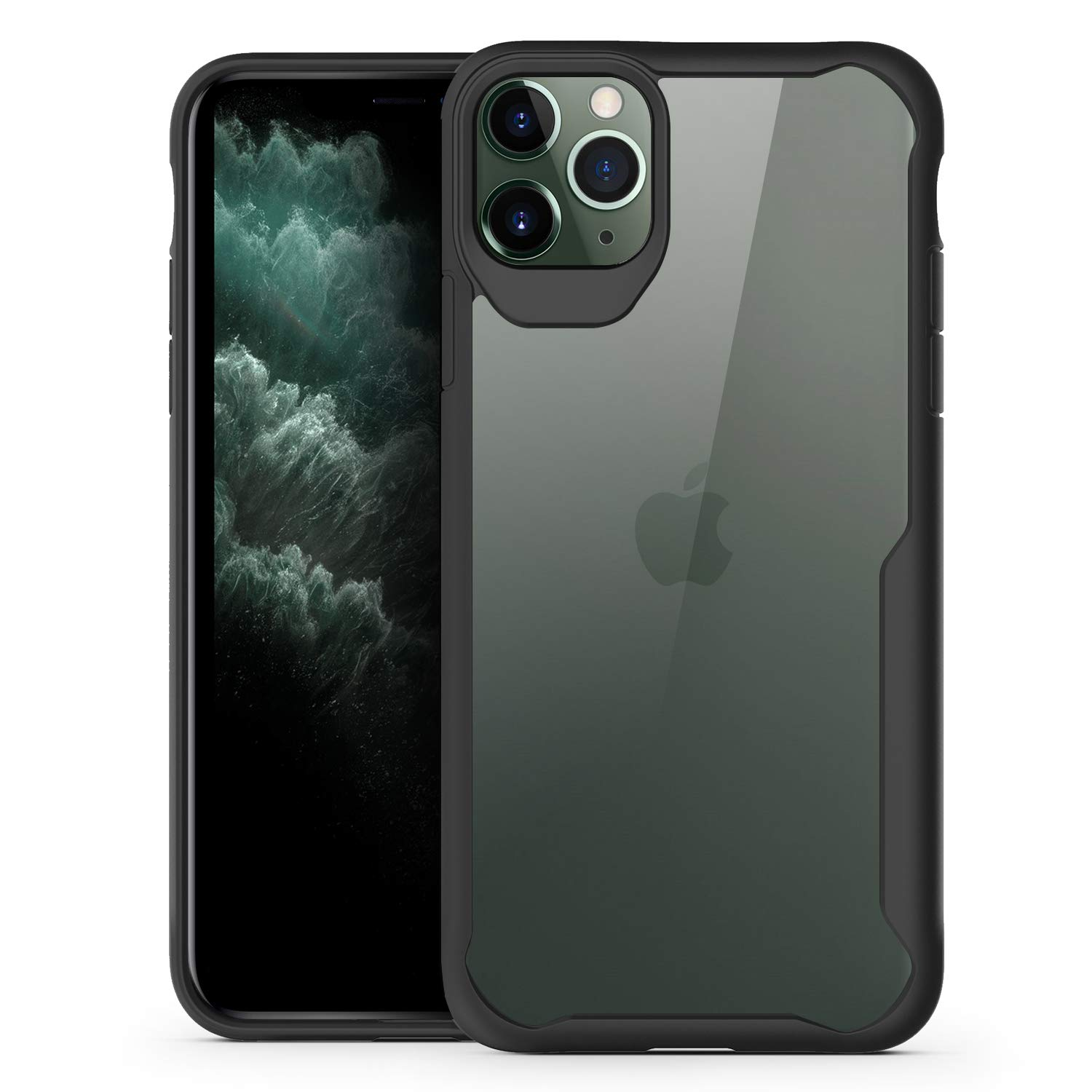 Olixar for iPhone 11 Pro Bumper Case - Hard Tough Slim Cover - Clear Back - Shock Protection - NovaShield - Wireless Charging Compatible - Black by Olixar