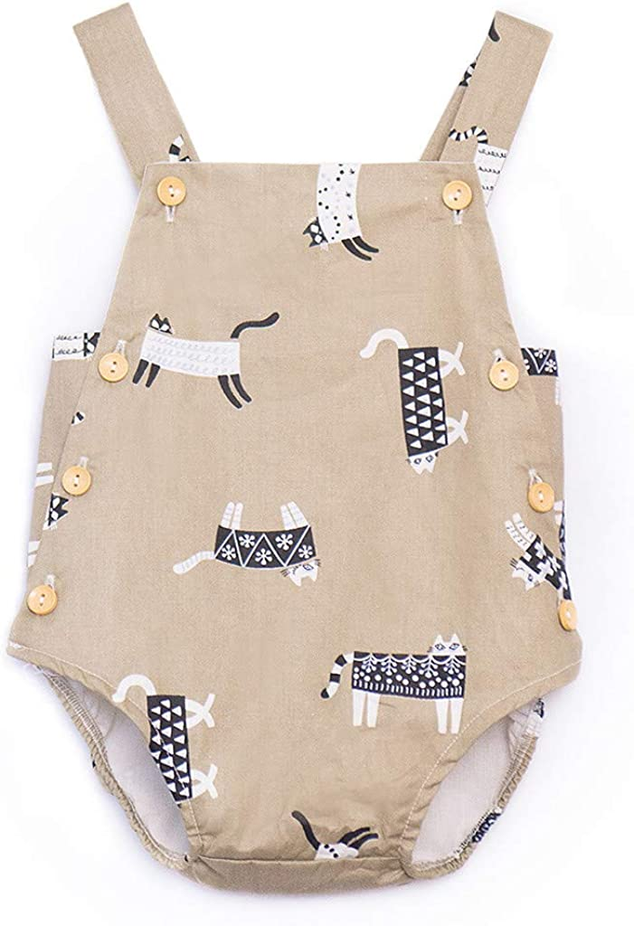 Cotton Cartoon Print Button Rompers Summer Onesies Tank Tops Outfits TTINAF Clothes Set Baby Girl Sleeveless Bodysuits