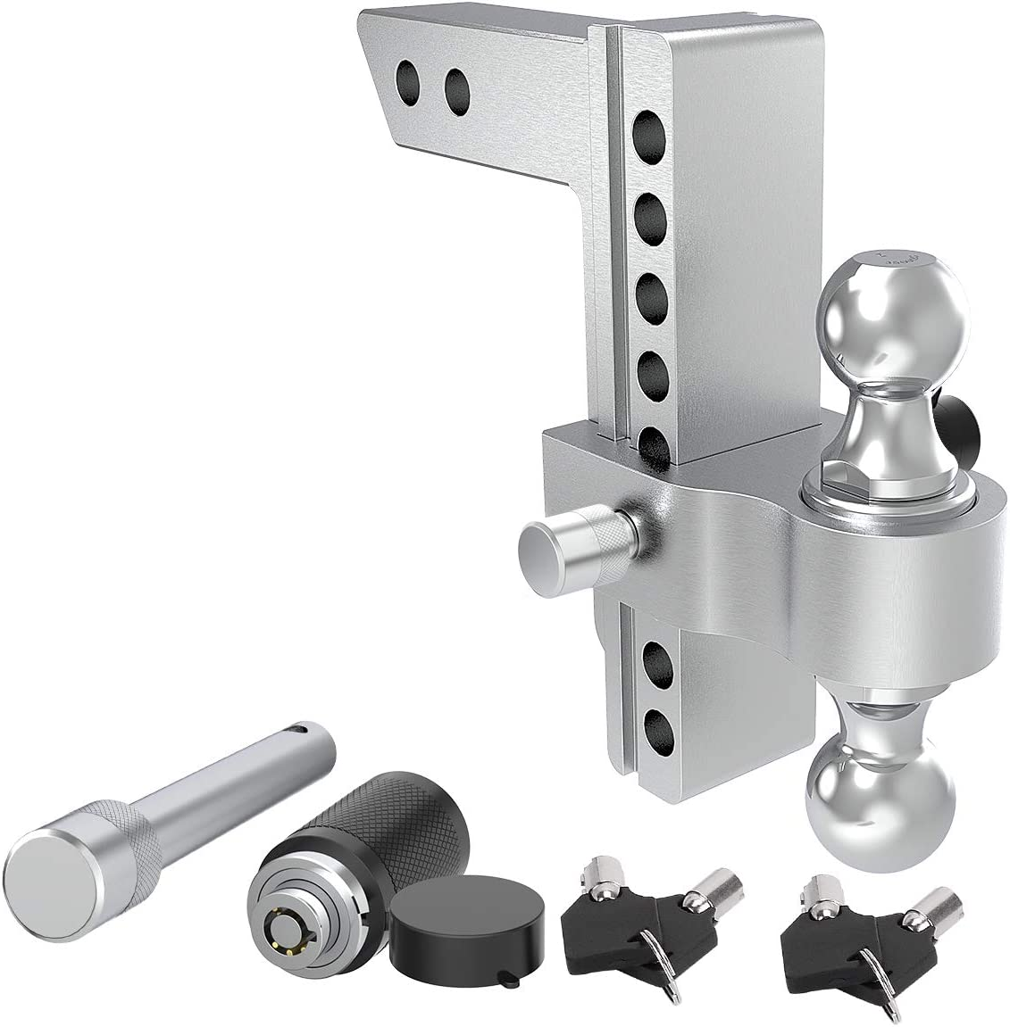 2 /& 2-5//16 YITAMOTOR Hitches 4 Drop Adjustable Trailer Hitch Ball Mount Aluminum Alloy 2 Forged Shank /& Steel Dual Combo Balls with Double Keyed Locking Pins