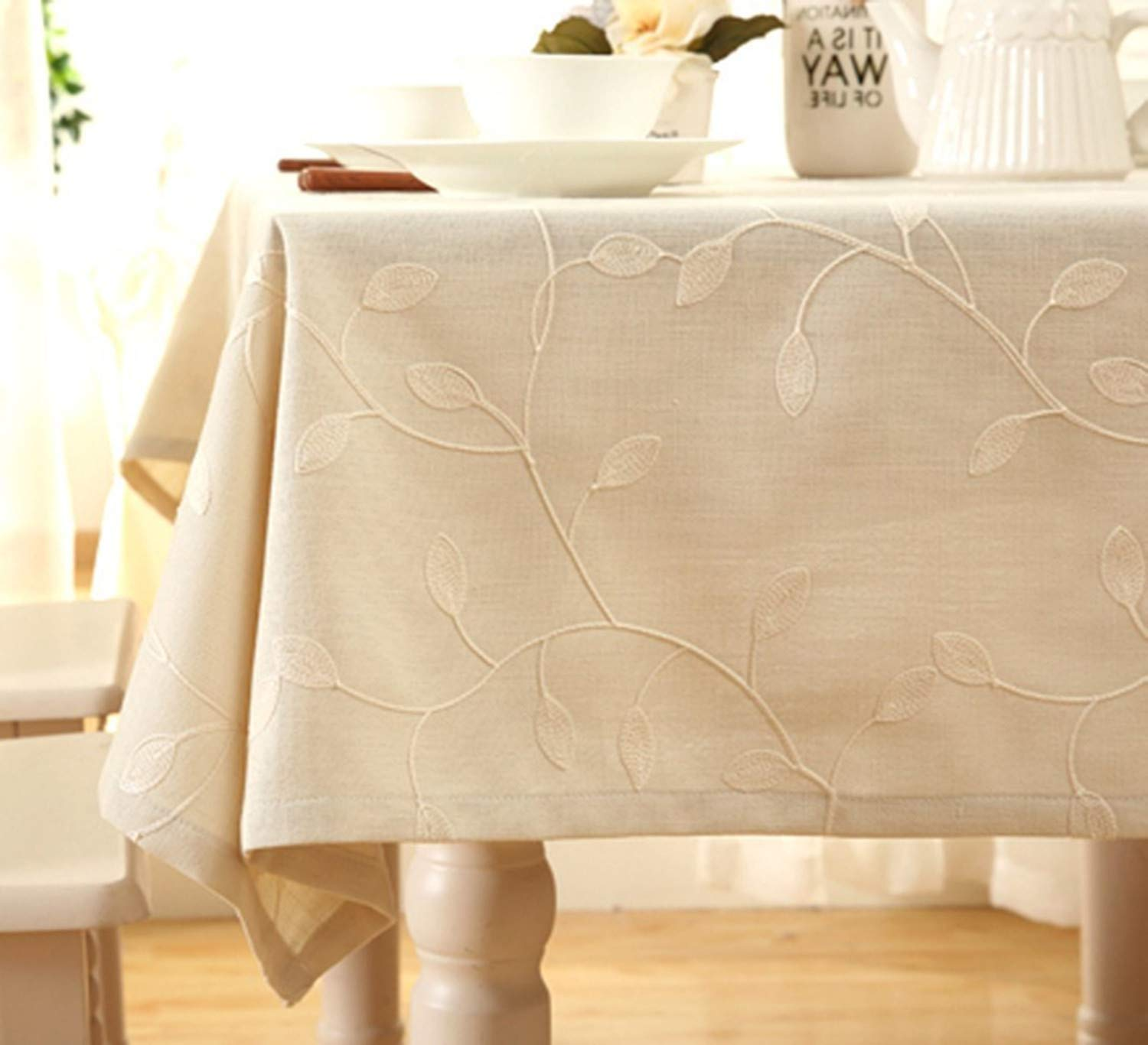 "SUNTQ Cotton Linen Tablecloth Leaf Embroidered Table Cover for Dinner Kitchen (Beige, 60""x108"")"