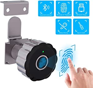 ASECUTE Metal Biometric Fingerprint Cabinet Lock with Bluetooth Tuya Smart App, Keyless Cabinet Lock is Suitable for Home or Office Furniture, FCC Certified, 1-Pack (Support APP Bluetooth)