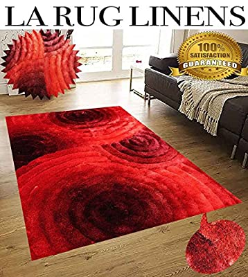 LA RUG LINENS HUGE BLOWOUT SALE 5x7 3D Shag Collection Polyester Shaggy Gradient Red Two Tone Color Vibrant Circular Pattern Geometric Fuzzy Fluffy Contemporary Rug Carpet (SAD 419 Red)