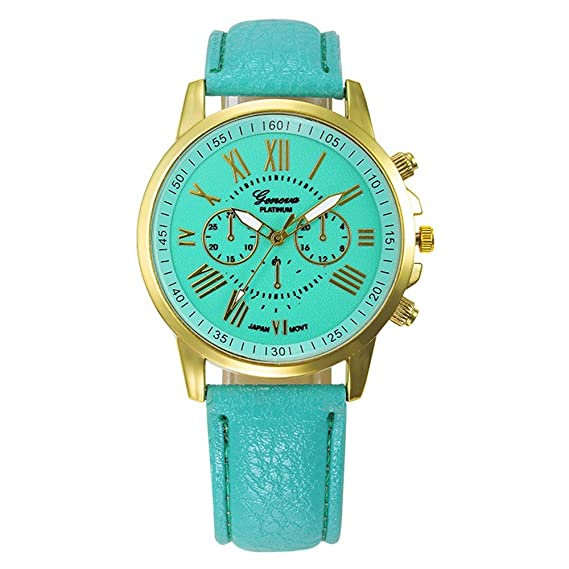 Womens Watch,Elegant Geneva Roman Numerals Wristwatch Analog Quartz Clock Axchongery (Mint Green 2