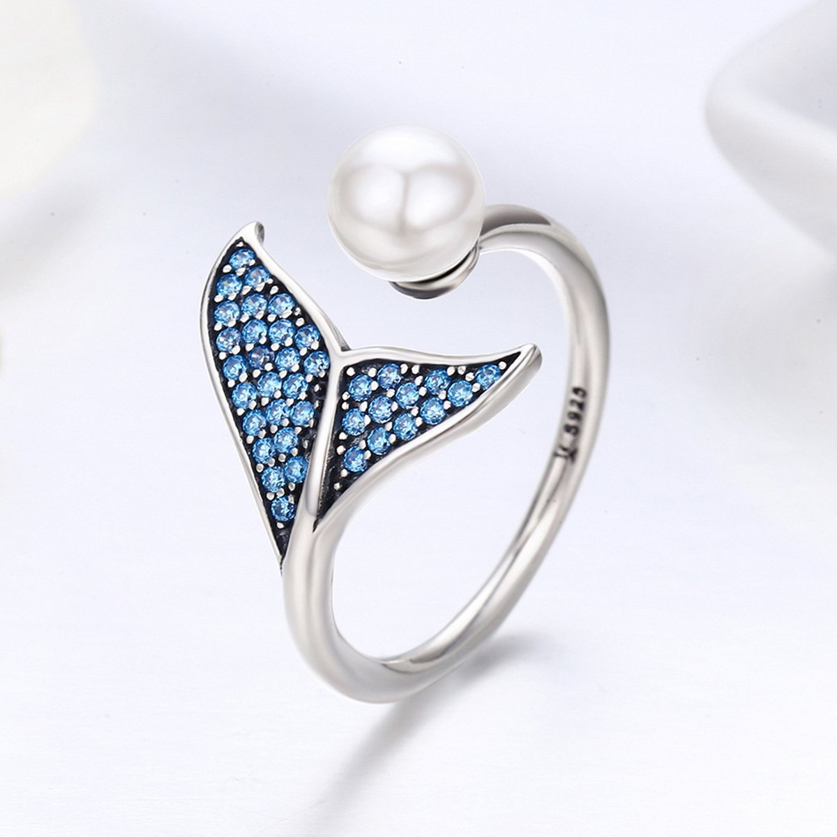 Forever Queen Mermaid Tail Ring, S925 Sterling Silver Dolphin Tail Adjustable Finger Ring for Women Girls Open Ring with Blue Cubic Zirconia& Shell Pearl BJ09067 by Forever Queen (Image #1)