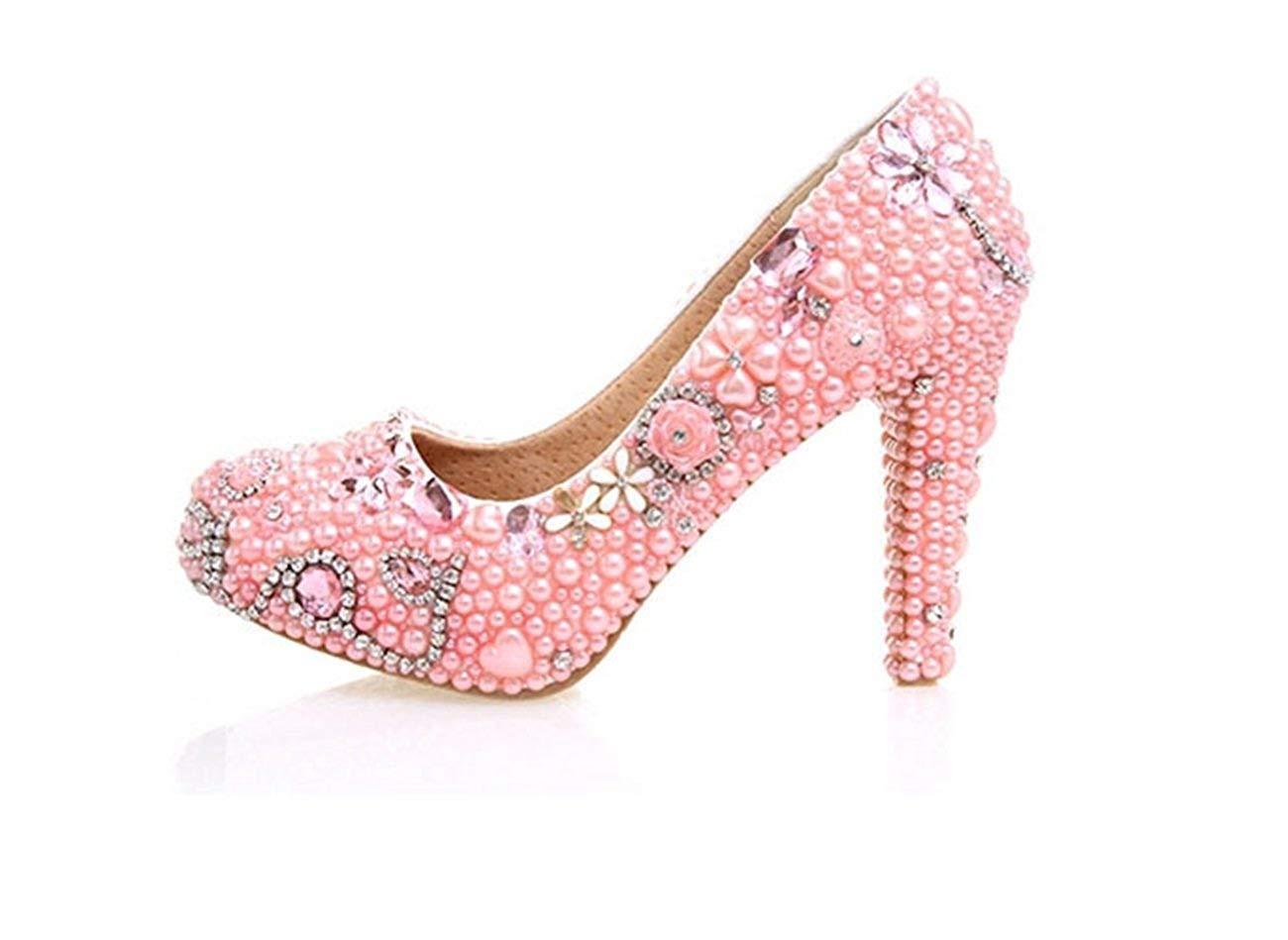 Fuxitoggo Damen Handarbeit Perlen Braut Hochzeit Pumps Schuhe (Farbe   Rosa-10cm Heel, Größe   4 UK)