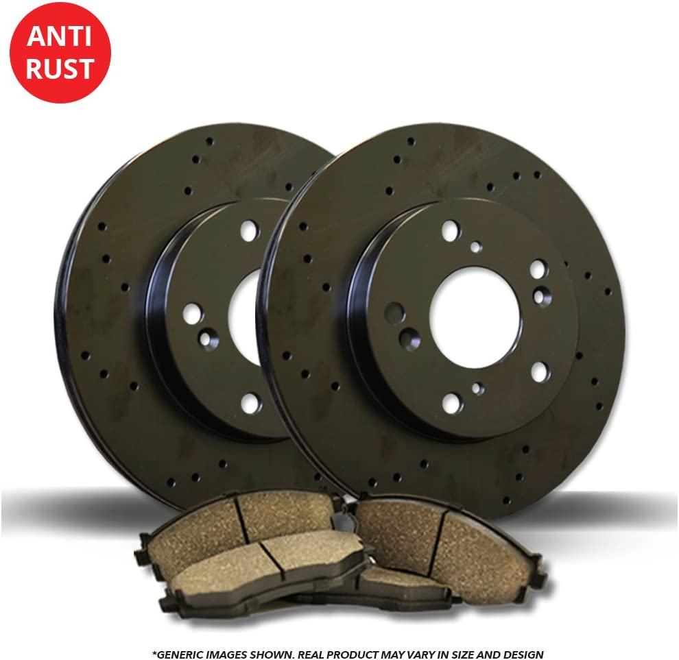 High-End XC90 4 Ceramic Pads 5lug 2 Black Coated Cross-Drilled Disc Brake Rotors Front Kit