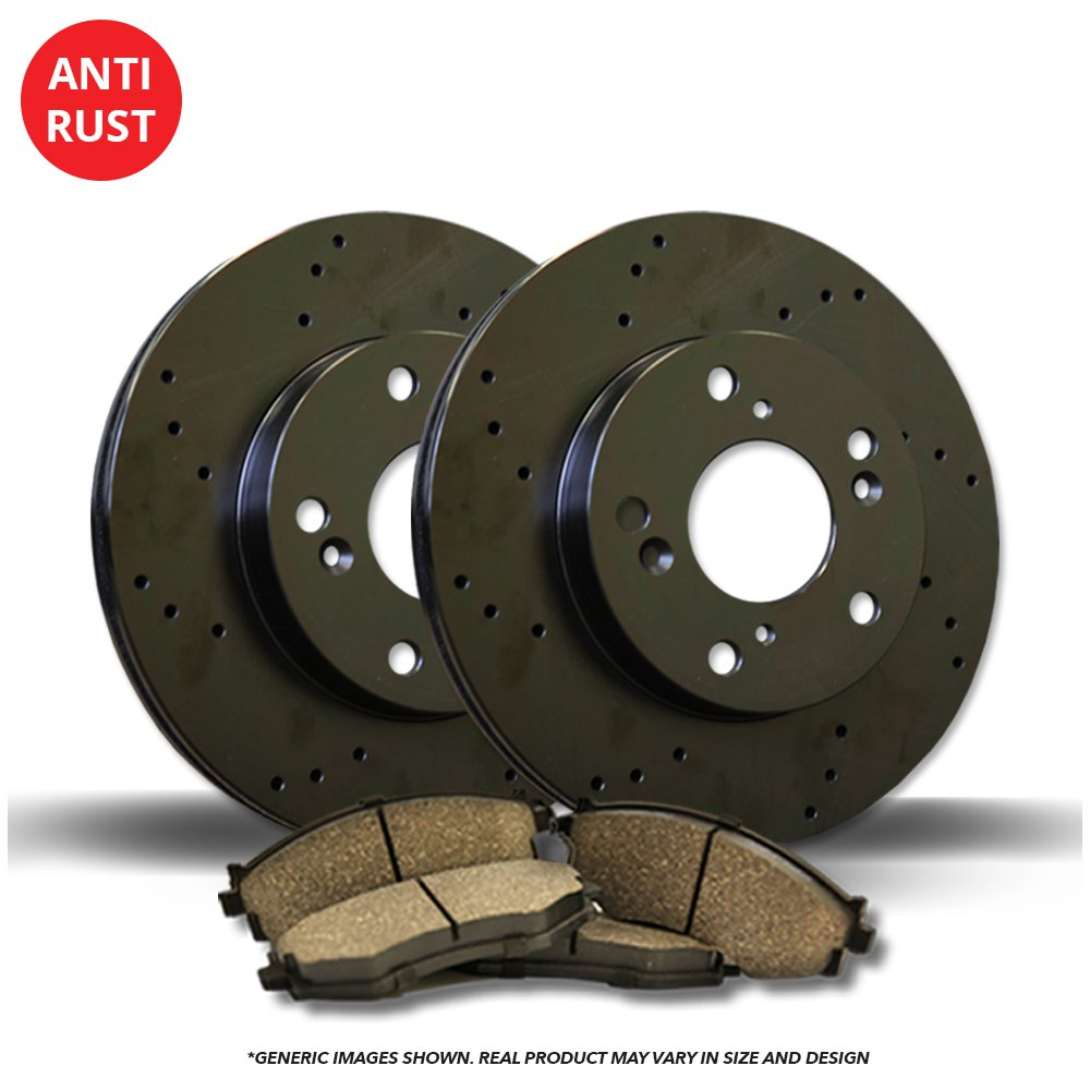 (Front Kit)(High-End) 2 Black Coated Cross-Drilled Disc Brake Rotors + 4 Ceramic Pads(850 C70 S70 V70)(5lug) Unlimitedbrakeparts