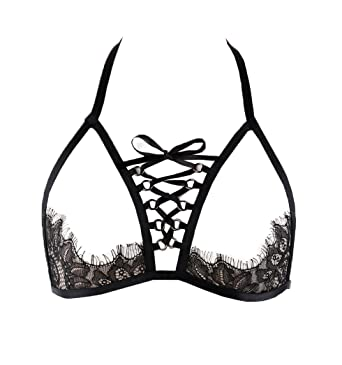 03f6e40b33 BODY CAGE Women s Halter Harness Bra Sexy Caged Bralette Cupless Lingerie  Adjustable