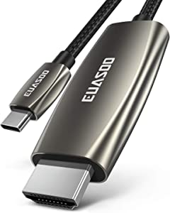 USB C to HDMI Cable(4K@60Hz), EUASOO USB Type-C to HDMI Adapter [USB 3.1 Gen2] for MacBook Pro 2019/2018/2017, MacBook Air/iPad Pro 2019/2018, Surface Book 2, Samsung S10, and More (6ft)