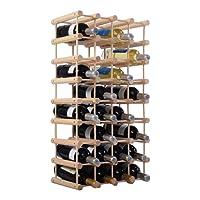 Costway Portabottiglie in legno scaffale di vino, in legno di pino, naturale, 102,5 x 24 x 33 cm