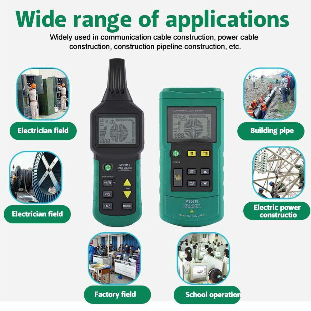 Fydun Testeur de localisateur de c/âbles MS6818 12V-400V AC//DC Fil Localisateur de c/âbles D/étecteur de tuyaux m/étalliques Testeur de lignes Tracker