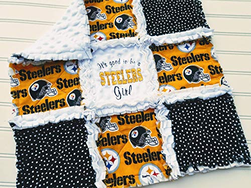 Pittsburgh Steelers Mini Rag Quilt or Crib Rag Quilt, Boy or Girl, Baby or Fan
