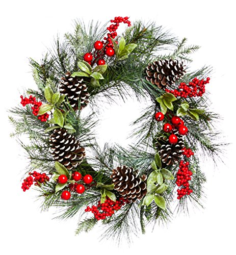 Cypress Home Holly and Pinecone 24-inch Wreath