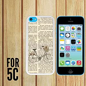 Hipster Vintage Bicycle Floral Cute Custom made Case/Cover/skin FOR Apple iPhone 5c - White - Rubber Case
