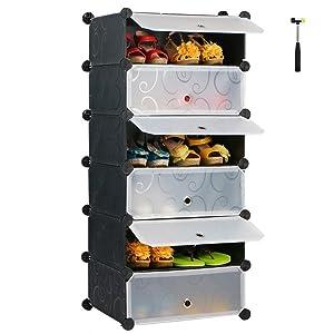 SEVVY Plastic DIY Portable Shoe Rack Storage Organiser Cabinet. 6 Cube Shoe Wardrobe. (Black)