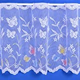Butterfly Floral Cafe Net Curtain in White - 3 Drops - Sold By The Metre (18' (45cm))