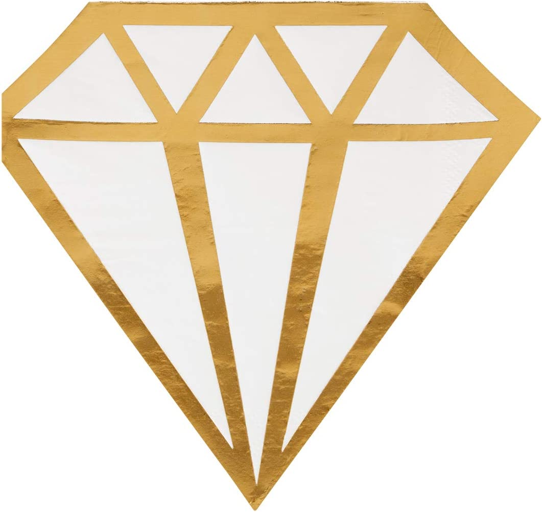 Andaz Press Gold Foil Diamond Shape Cocktail Napkins, 6.2-Inch Bulk 50-Pack Count 3-Ply Disposable Fun Beverage Napkins for Wedding, Bridal Shower, Bachelorette, Engagement, Wedding Shower