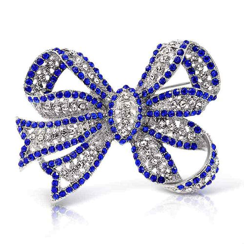 (Bling Jewelry Large Fashion Statement Royal Blue Crystal Ribbon Bow Brooch Pin for Women Silver Plated)