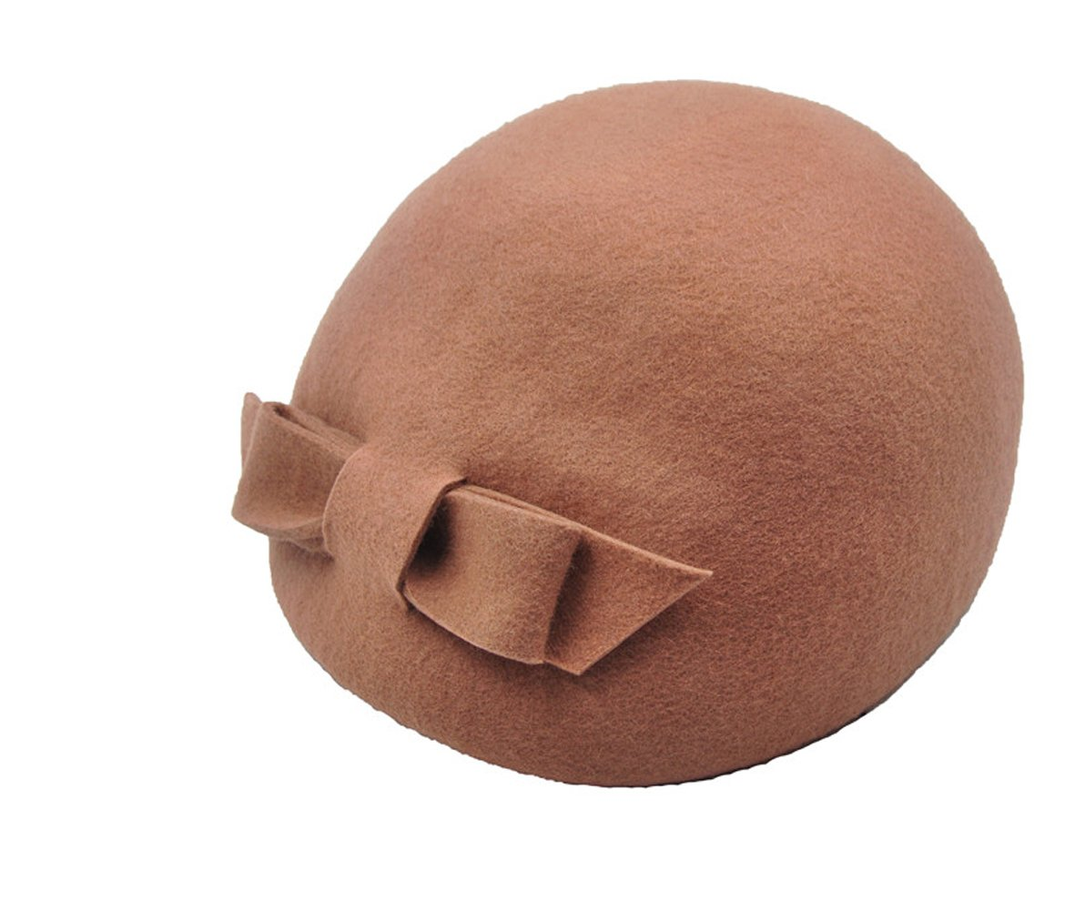Lady Women Modern Wool Cloche Bucket Felt Winter Hat with Bow Design Cap (Dark Tan)