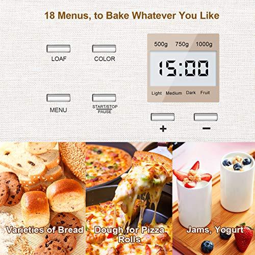 KBS Bread Maker Machine, Premium Gluten Fruit&Nut 3 Crust LCD Interface, Fully Stainless