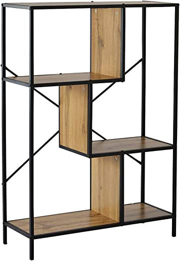 ch-AIR WRJ Rustic Bookcase Geometric Bookshelf Home Office Storage Shelves Vintage Display Shelf 3 Tiers Modern Organizer