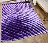 Shaggy Shag Fluffy Fuzzy Furry 3D Modern Contemporary High Pile Soft New Decorative Designer Living Room Bedroom Area Rug 8×10 Purple Lavender Lilac Mauve Plum Two Tone ( SAD 274 Purple ) Review