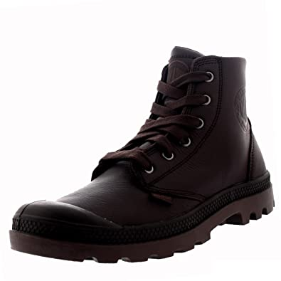 Palladium Mens Pampa Hi VL Walking Leather Shoes Hiking Brown Ankle Boot -  Black Coffee/