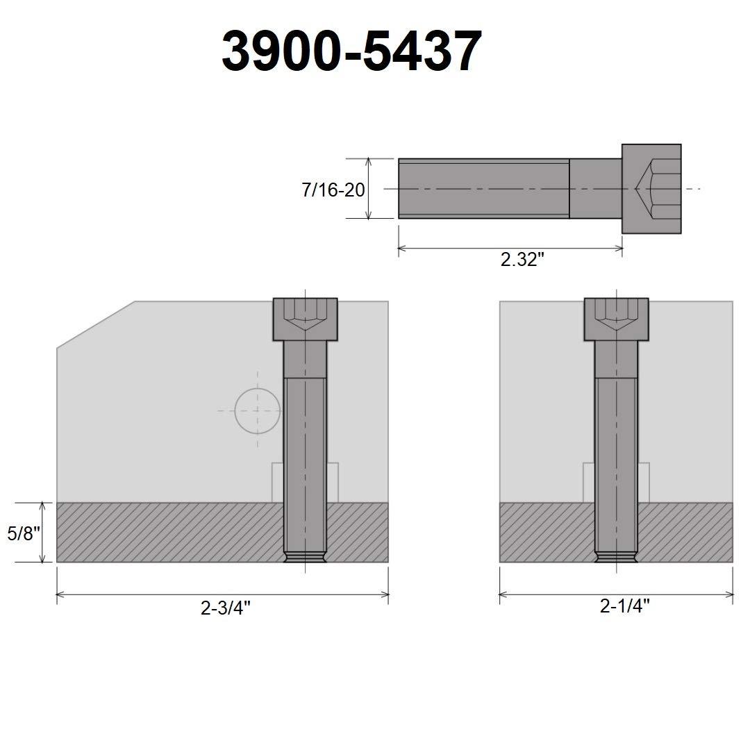 KDK-100 STYLE T-NUT BLANK 3//4 X 2-1//2 X 3 WITH SCREW 7//16-20 X 62MM 3900-5438