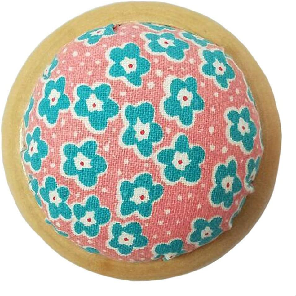 GAMESPFF Round Pin Cushion with Wooden Base and Printed Floral Fabric Coated for Daily Needlework Blue 1