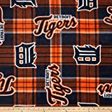 MLB Fleece Detroit Tigers Plaid Blue/Orange Fabric By The Yard