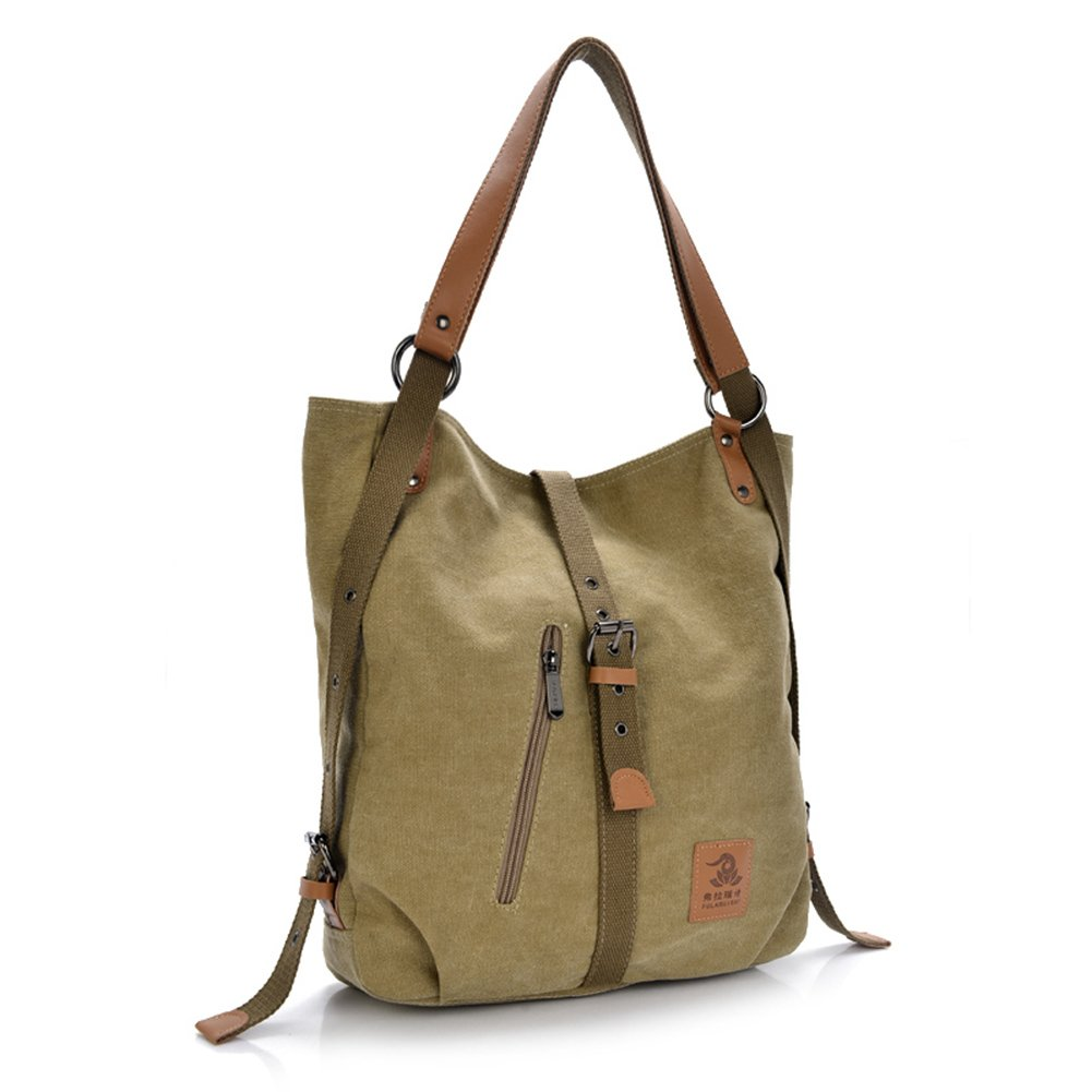 Women Shoulder Bag, Fashion Backpack, Multifunctional Canvas Handbag, Casual Rucksack, Khaki
